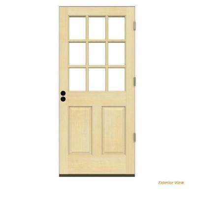 36 in. x 80 in. 9 Lite Unfinished Wood Prehung Left-Hand Outswing Front Door w/Primed Rot Resistant Jamb