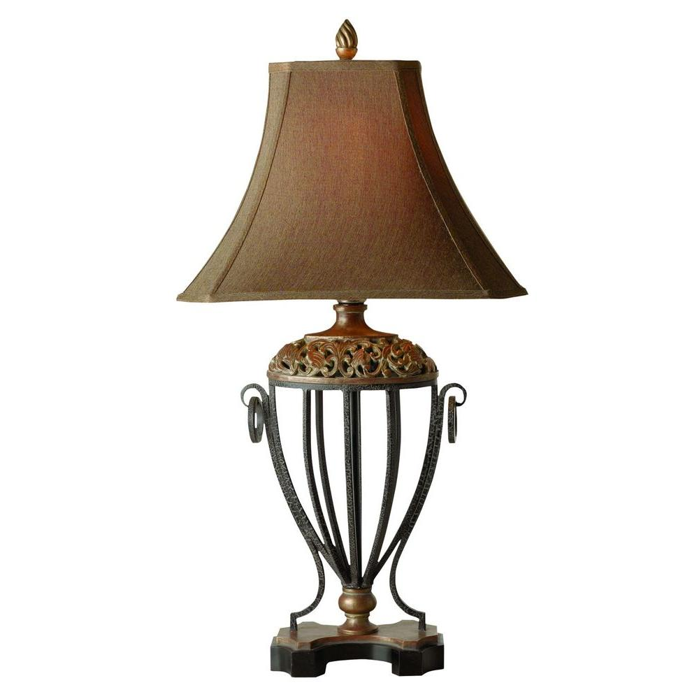 Global Direct 37 in. Antique Gold Leaf Table Lamp
