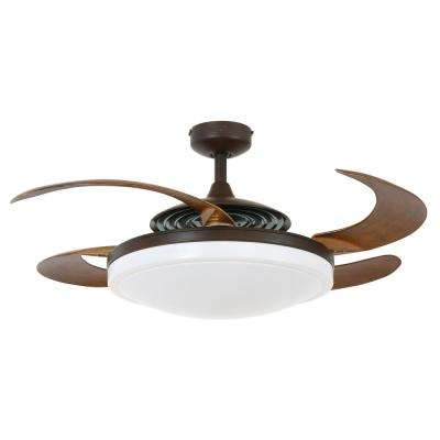 Evo2 Oil Rubbed Bronze Retractable 4-blade 48 in. Lighting with Remote Ceiling Fan