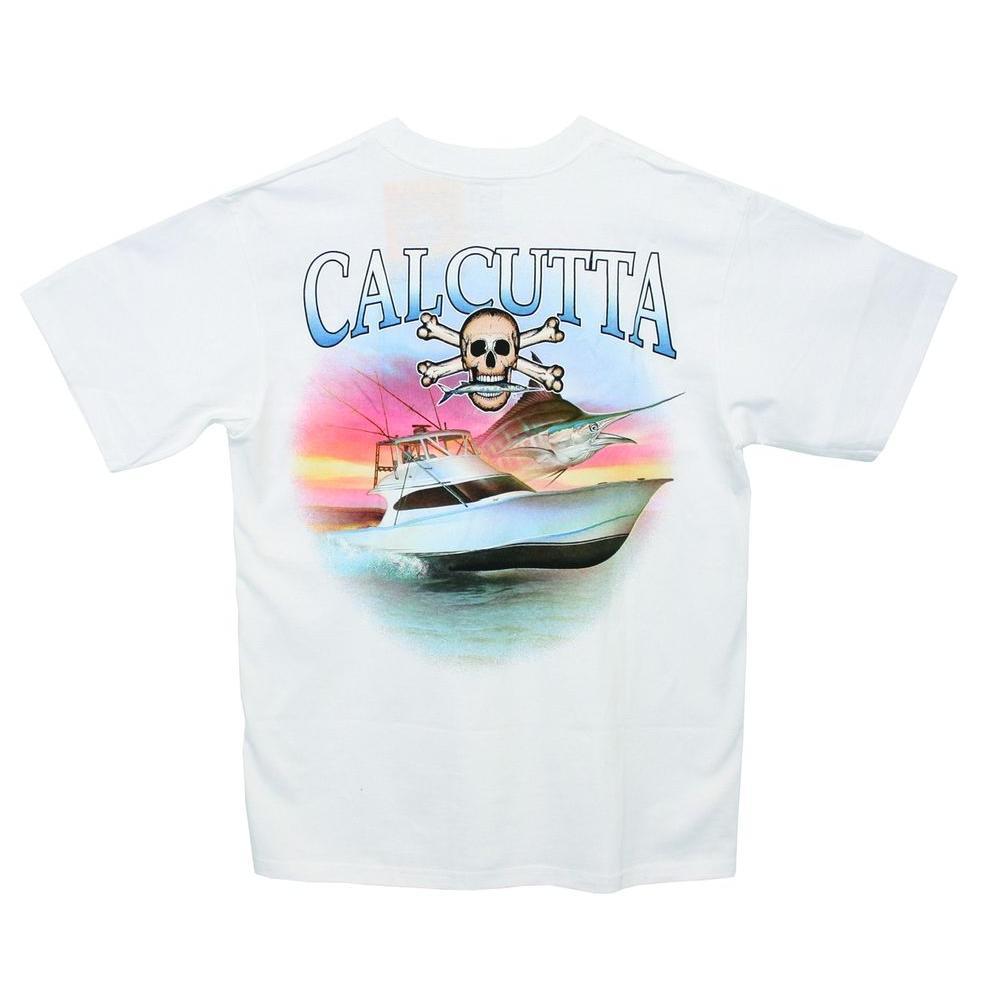 Adult Large Cotton Sport Fisherman Color Logo Short Sleeved Front Pocket T-Shirt in White