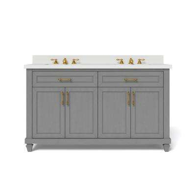 60 in. W x 34.5 in. H Bath Vanity in Antique Grey with Engineered Stone Vanity Top in White with White Basin