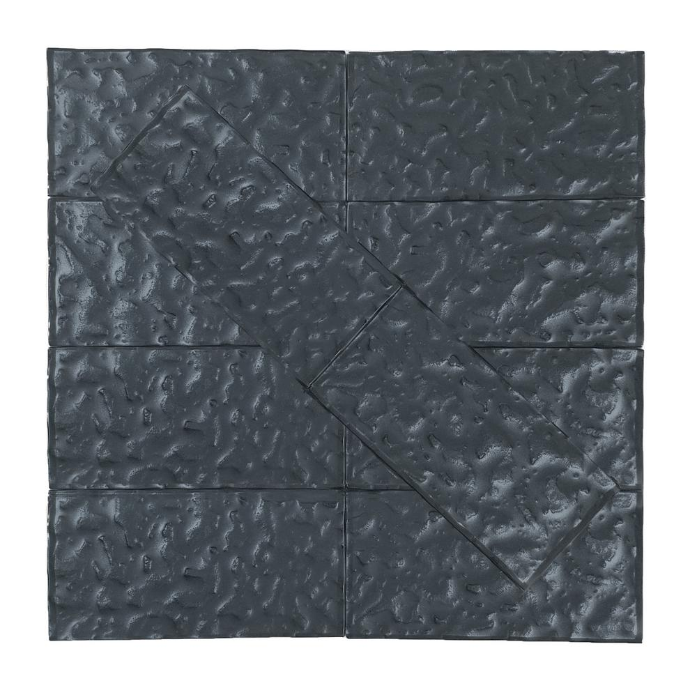 Metallics Blue Gray Wavy 3 in. x 6 in. Glass Wall