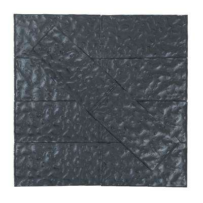 Metallics Blue Gray Wavy 3 in. x 6 in. Glass Wall Tile (1 sq. ft. / pack)