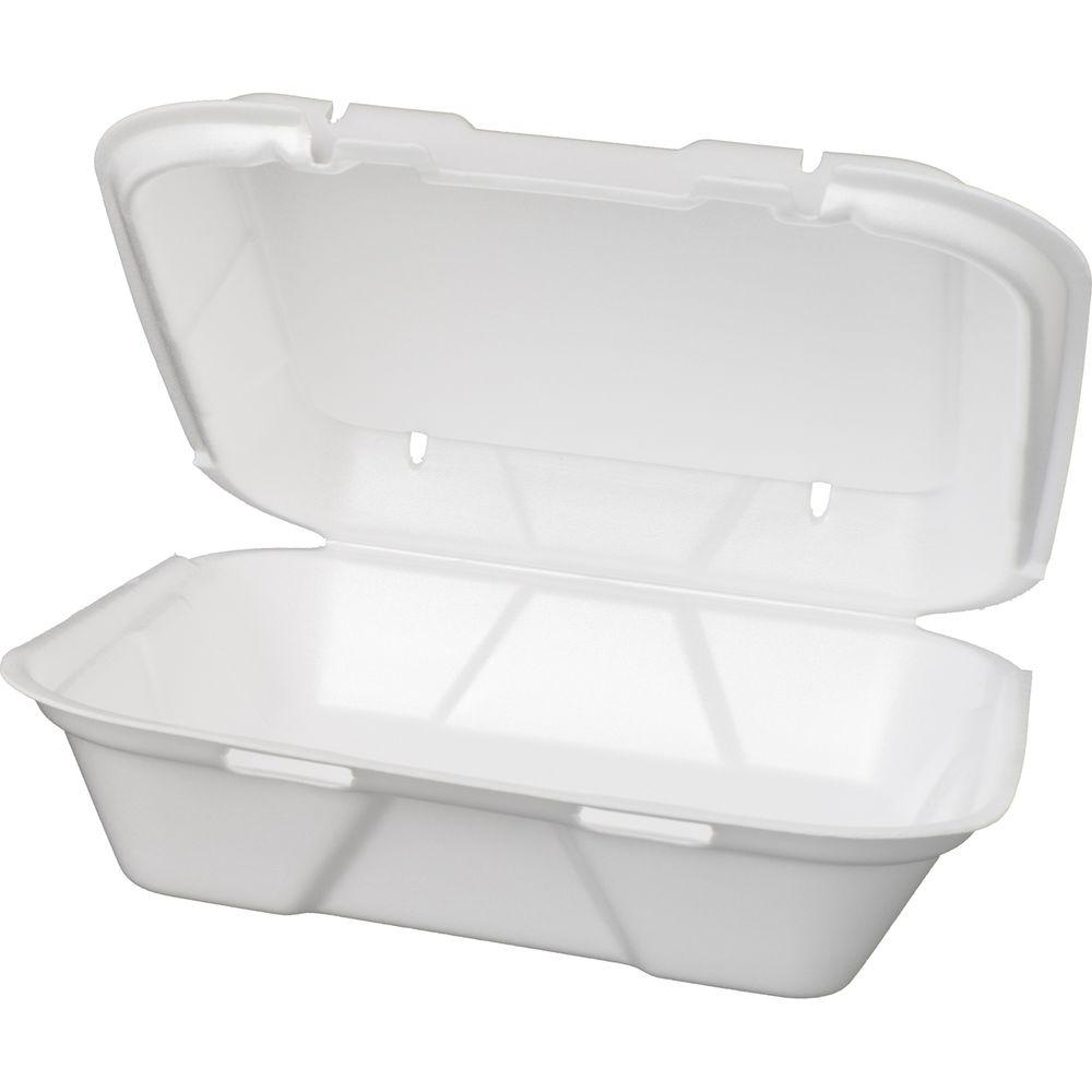 Genpak Foam Hinged Carryout Containers, 9-1/4 x 9-1/4 x 3, White, 200 Per Case