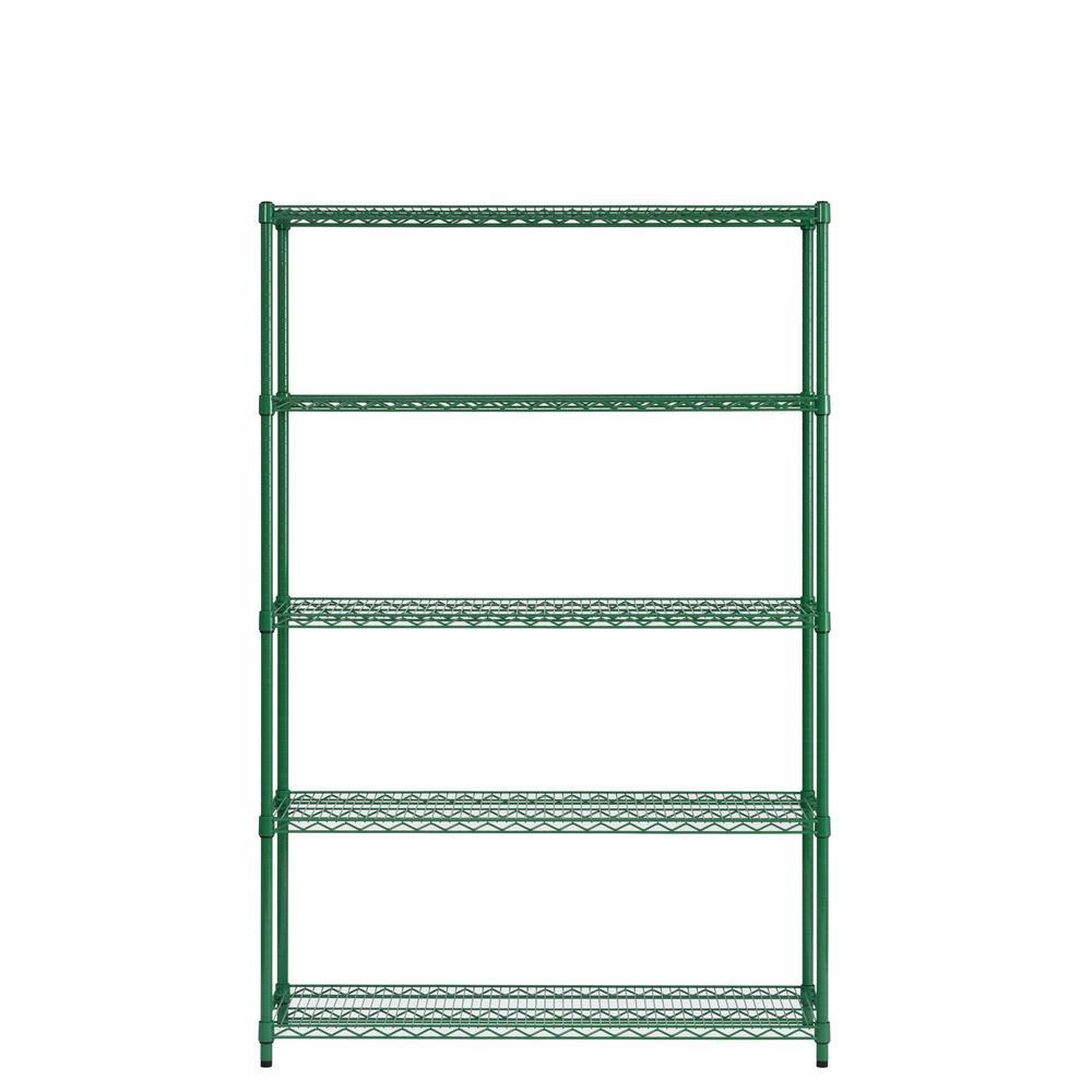 36 in. W x 72 in. H x 16 in. D Green 5 tier Shelving Unit
