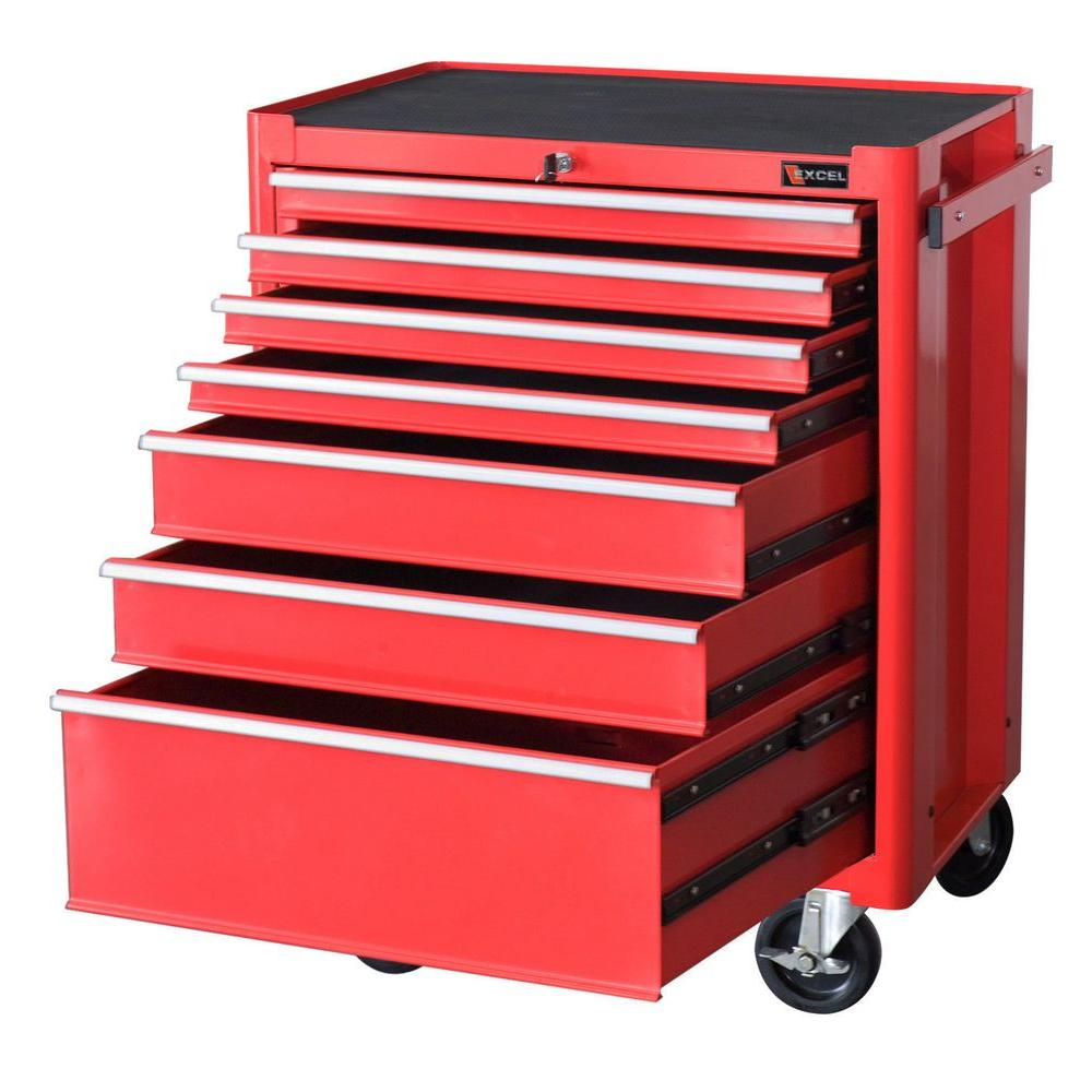 Steel Roller Cabinet, Red, 27.1in. W x 18in. D x 34.8in.