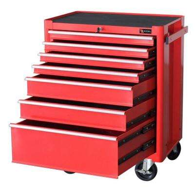 Steel Roller Cabinet, Red, 27.1in. W x 18in. D x 34.8in. H, Each