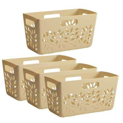 Almond Plastic Pantry Basket 4-Piece Set