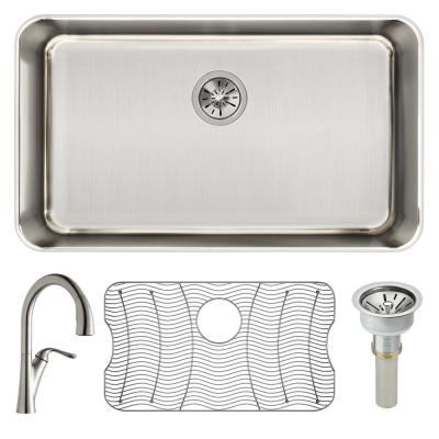 Lustertone All in One Undermount Stainless Steel 31 in. Single Bowl Kitchen Sink with Faucet, Drain, and Bottom Grid