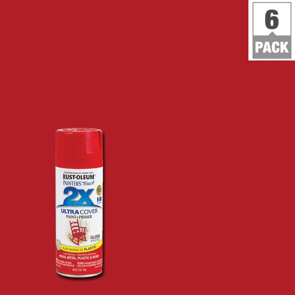 Rust Oleum Painter 39 S Touch 2x 12 Oz Apple Red Gloss General Purpose Spray Paint 6 Pack 249124