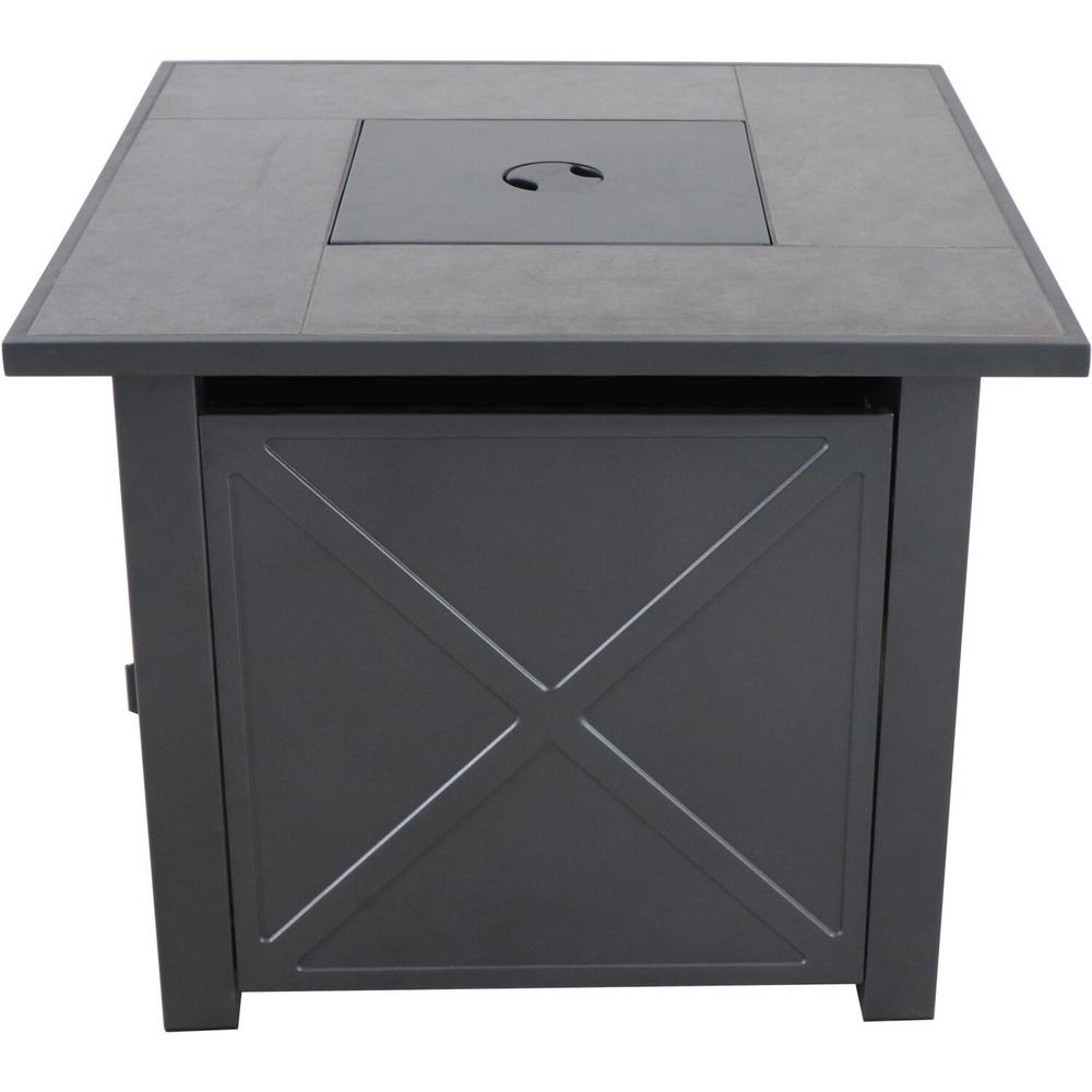 Hanover Naples 30 in. x 25 in. Square Steel Gas Fire Pit Table with Burner Cover and Lava Rocks