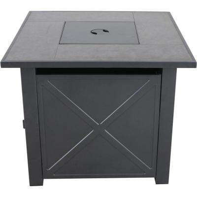 Naples 30 in. x 25 in. Square Steel Gas Fire Pit Table with Burner Cover and Lava Rocks