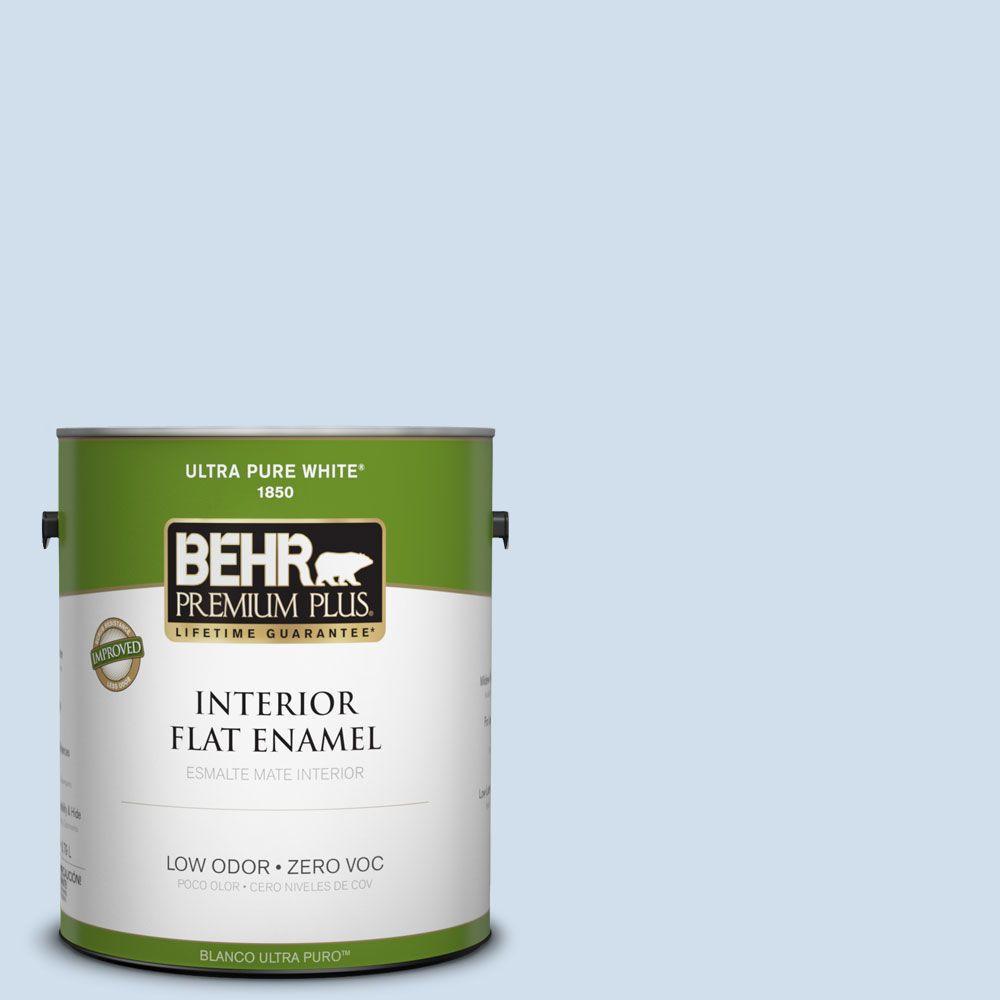BEHR Premium Plus 1-gal. #560A-1 Pale Sky Zero VOC Flat Enamel Interior Paint-DISCONTINUED