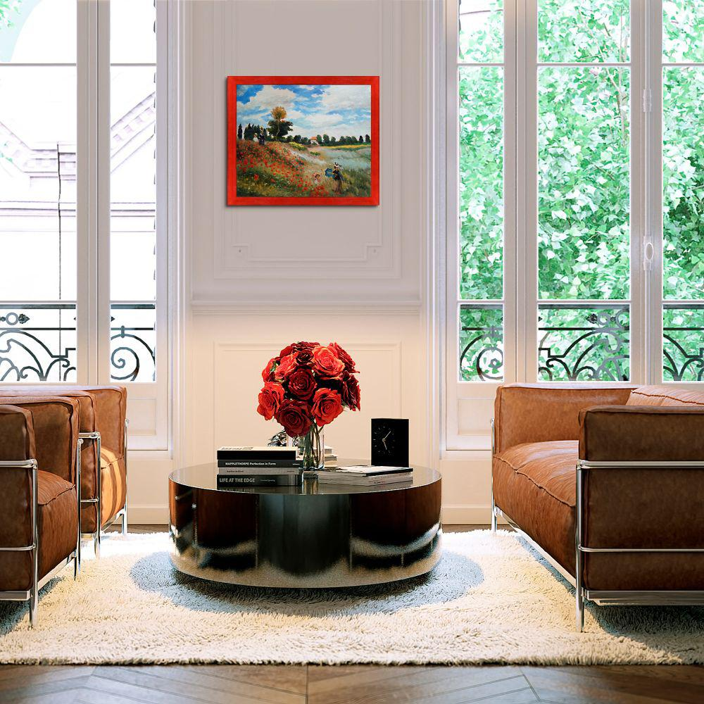 La Pastiche 28 in. x 24 in. Poppy Field in Argenteuil with Stiletto Red Frame  by Claude Monet Framed Wall Art, Multi-Colored was $788.71 now $380.73 (52.0% off)