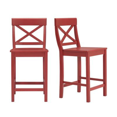 Cedarville Chili Red Wood Counter Stool with Cross Back (Set of 2) (19.42 in. W x 38.22 in. H)