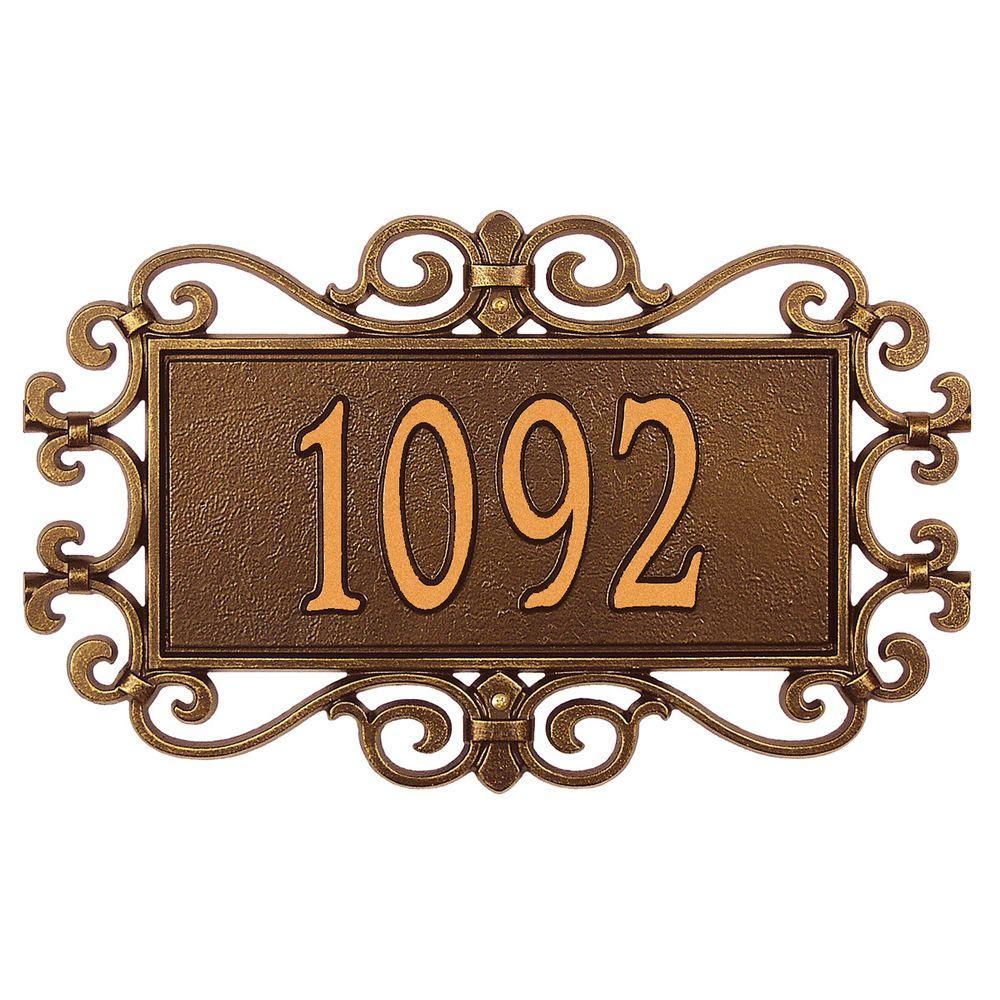 Mears Fretwork Rectangular Antique Copper Standard Wall One Line Address Plaque