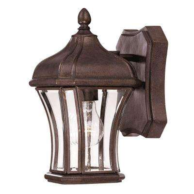Wall Mount 1-Light Outdoor Walnut Patina Lantern with Clear Beveled Glass