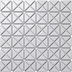 Tre Mini Crossover Glossy White 10-3/4 in. x 10-3/4 in. x 6mm Porcelain Mosaic Tile