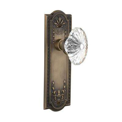 Meadows Plate 2-3/8 in. Backset Antique Brass Passage Hall/Closet Oval Fluted Crystal Glass Door Knob
