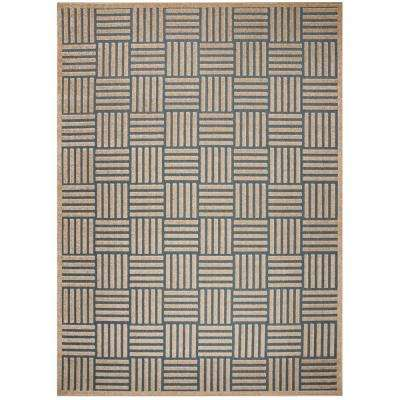 Cottage Light Blue/Beige 9 ft. x 12 ft. Indoor/Outdoor Area Rug