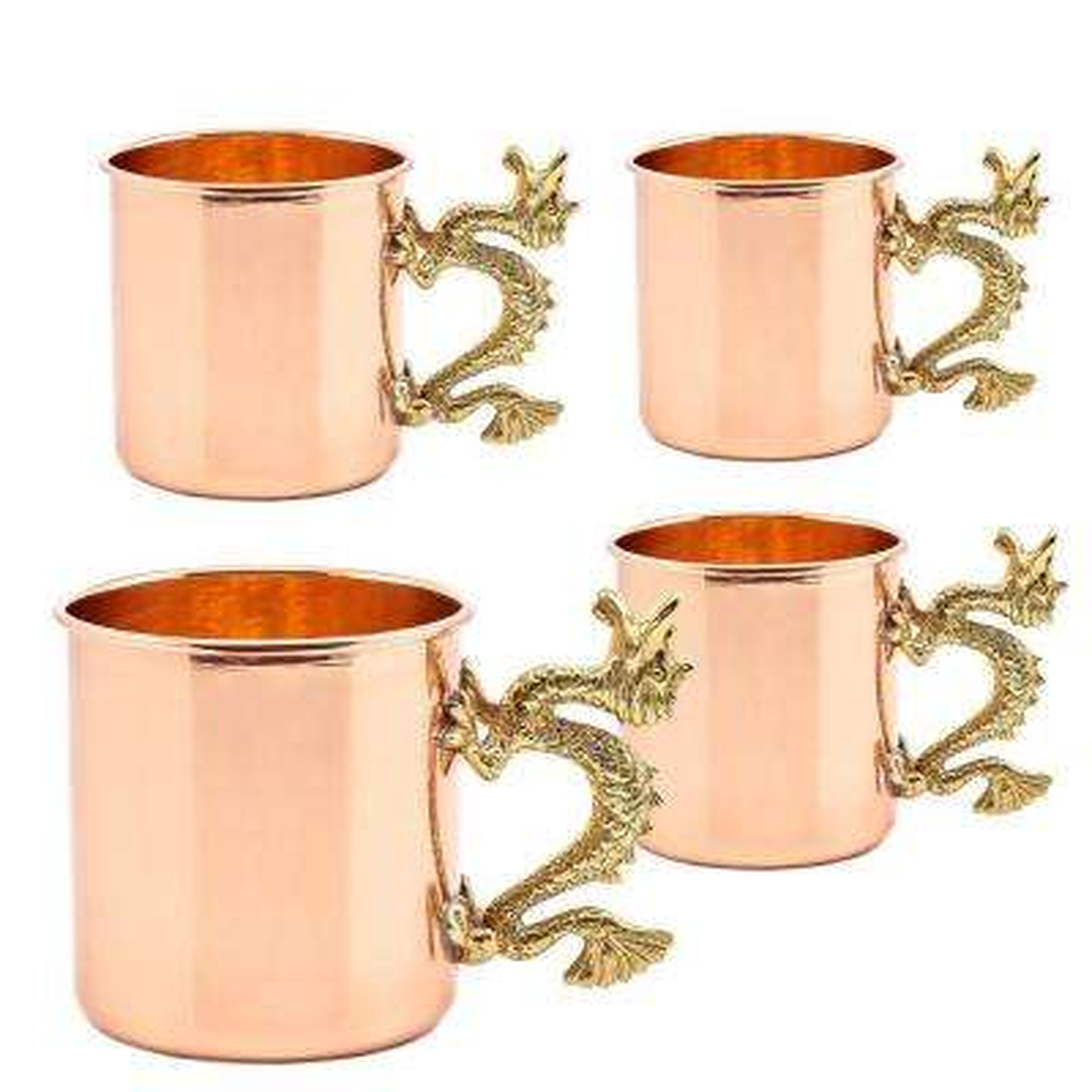 20 oz. Solid Copper Dragon Handle Straight Sided Mugs (UL, L)