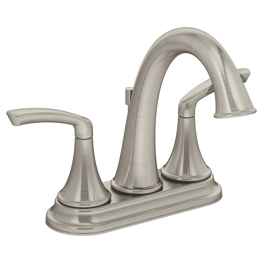 Symmons Elm 4 in. 2-Handle Lavatory Faucet in Satin Nickel (Valve ...