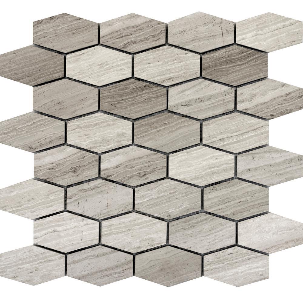 Limestone Bathroom Honeycomb Tile Flooring The Home Depot