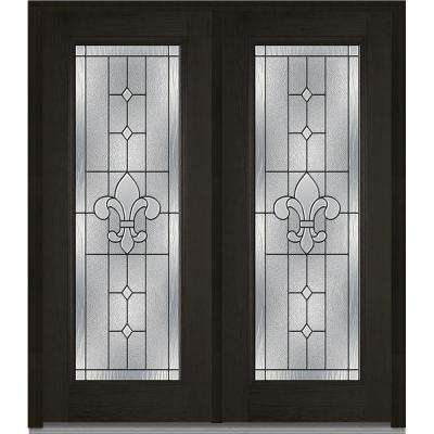 carrollton decorative glass full lite oak finished fiberglass exterior
