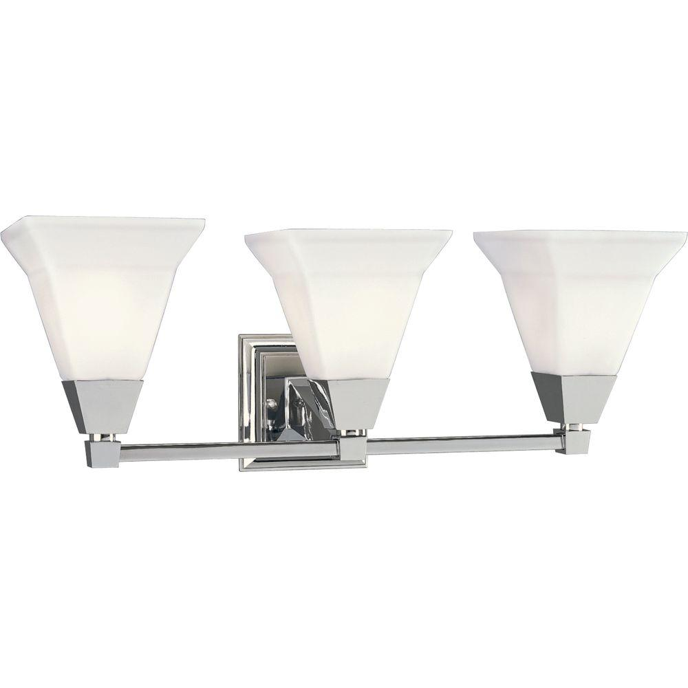 Glenmont collection 3 light chrome bathroom vanity light with glass shades