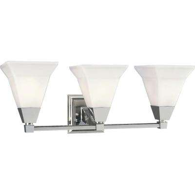 Glenmont Collection 3-Light Chrome Bathroom Vanity Light with Glass Shades