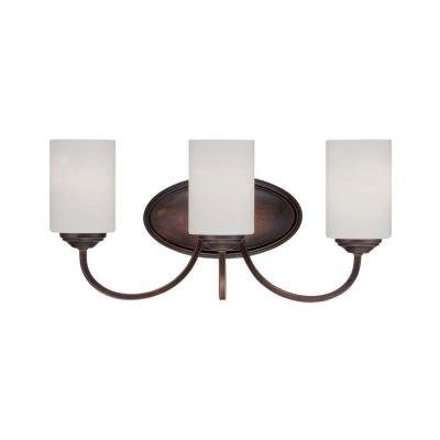 3-Light Rubbed Bronze Vanity Light with Etched White Glass