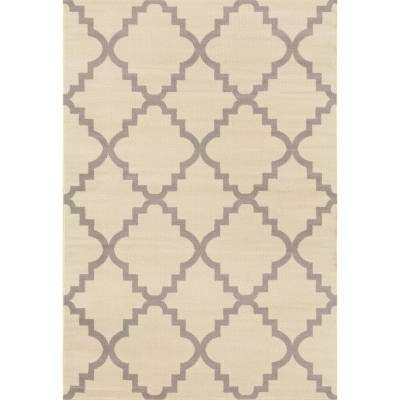 Contemporary Modern Trellis Cream 7 ft. 6 in. x 9 ft. 5 in. Area Rug
