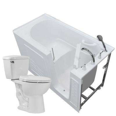 Nova Heated 60 in. Walk-In Whirlpool Bathtub in White with 1.28 GPF Single Flush Toilet