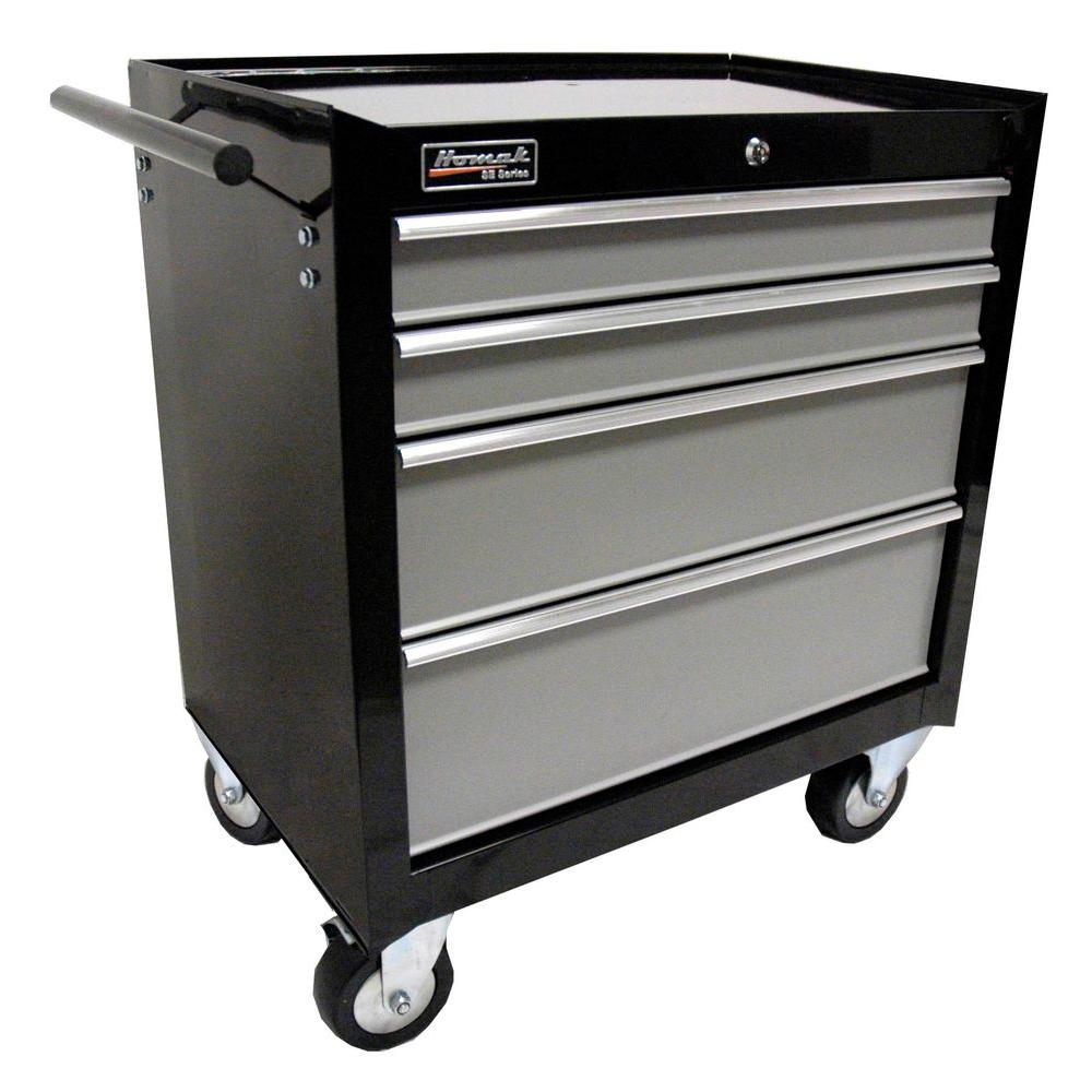 Homak SE Series 27 in. 4-Drawer Rolling Cabinet Black and Gray