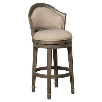 Monae 32 in. Distressed Dark Gray Swivel Bar Stool