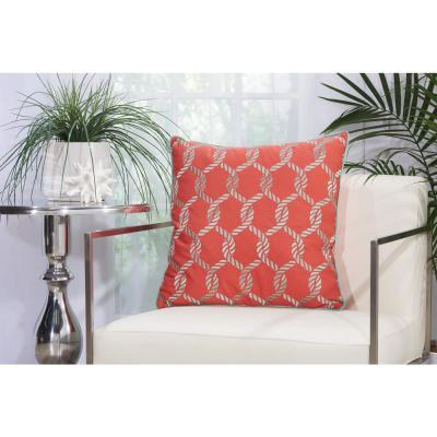 Woven Ropes Coral and Aqua Graphic Stain Resistant Polyester 20 in. x 20 in. Throw Pillow