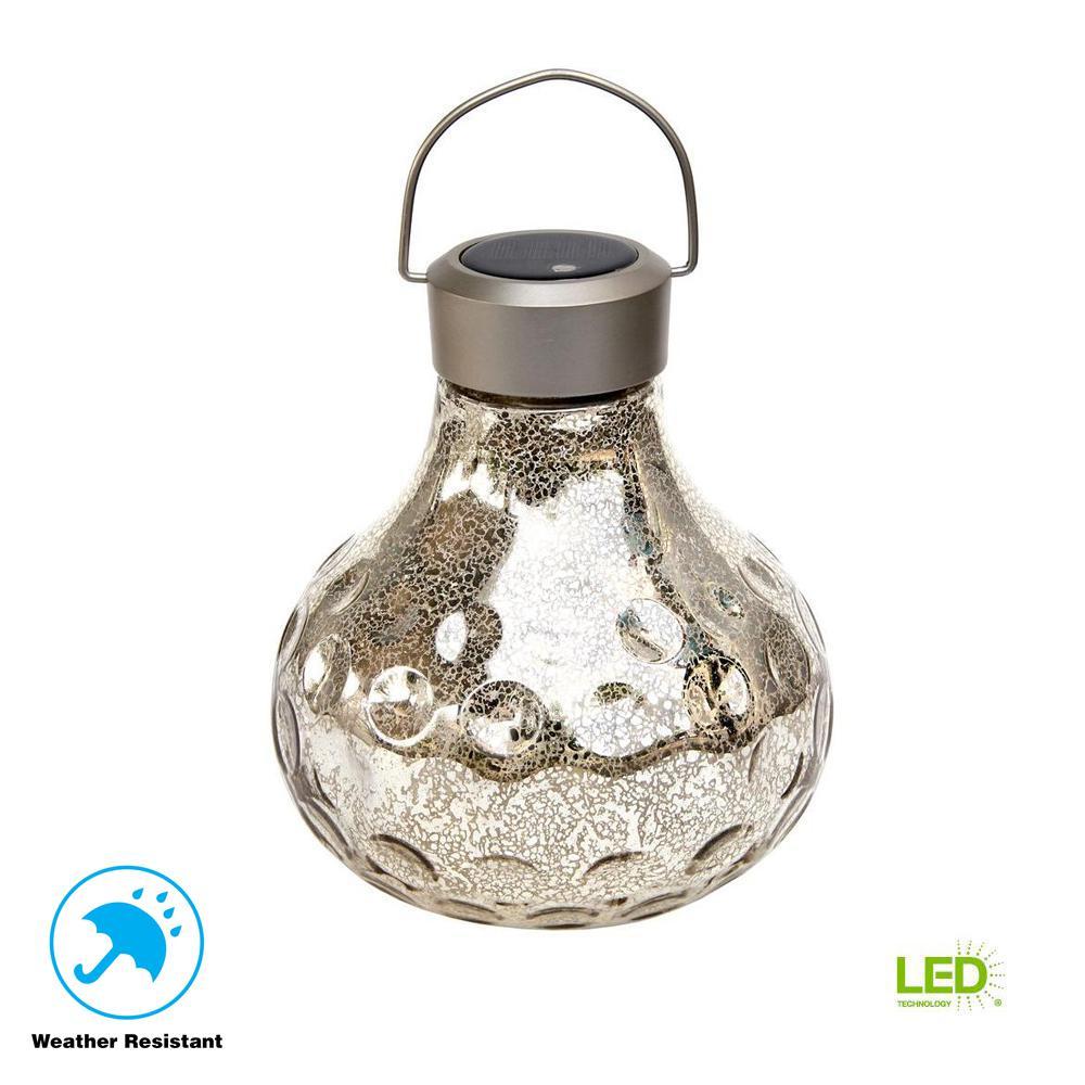 Vintage Silver Art Gl Large Tabletop Solar Led Lantern