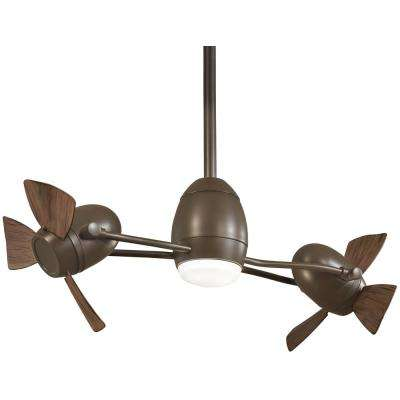 Cage Free Gyro 37 in. Integrated LED Oil Rubbed Bronze Ceiling Fan with Light