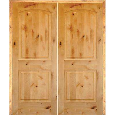 48 in. x 80 in. Rustic Knotty Alder 2-Panel Arch-Top Both Active Solid Core  Wood Double Prehung Interior French Door