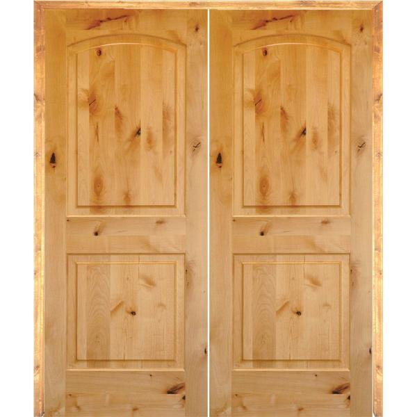 64 in. x 80 in. Rustic Knotty Alder 2-Panel Arch Top Both Active Solid Core Wood Double Prehung Interior French Door