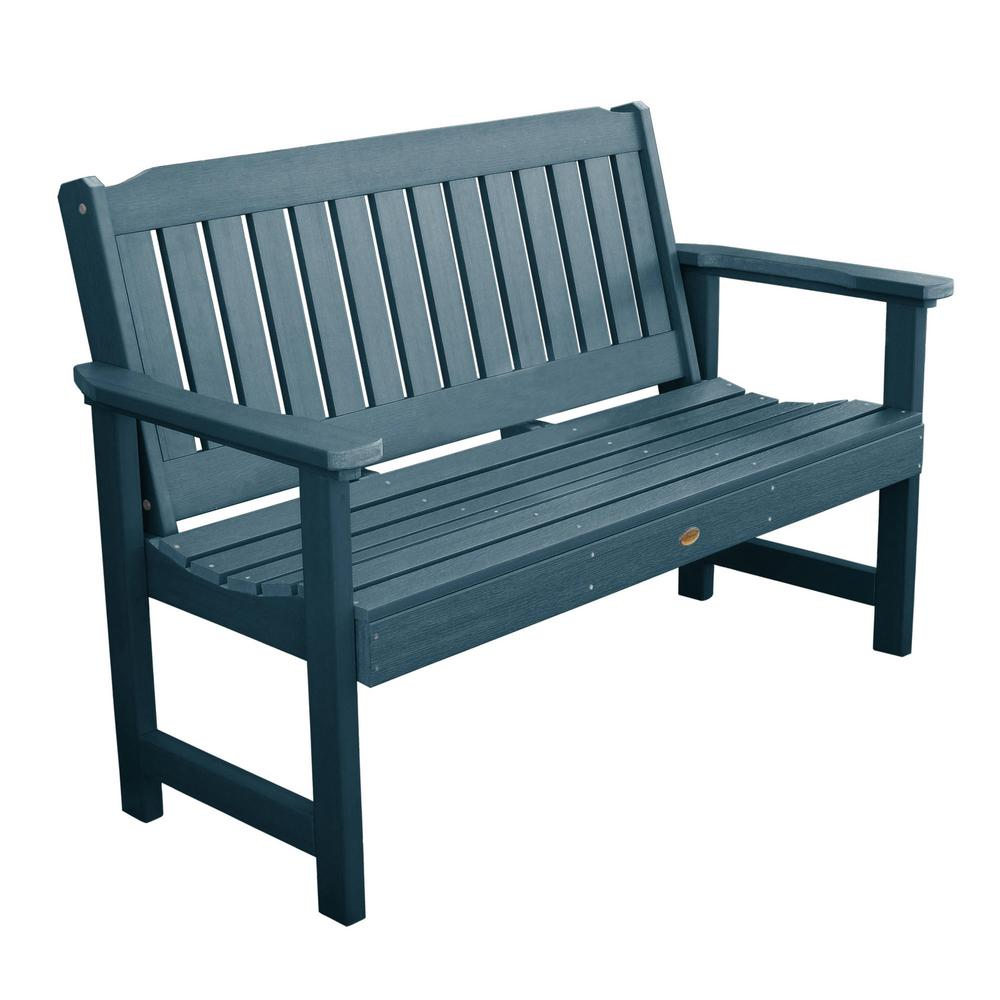 Highwood Lehigh 60 in. 2-Person Nantucket Blue Recycled Plastic Outdoor Garden Bench
