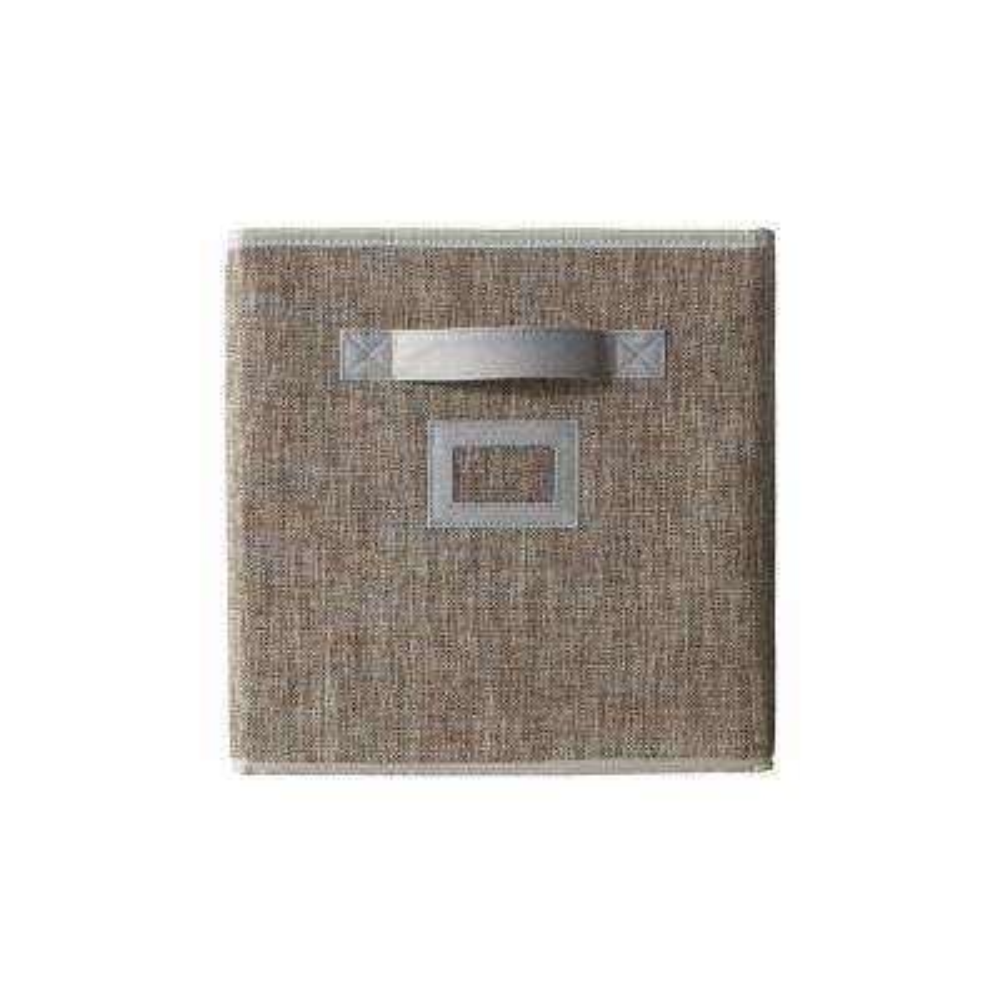10.5 in. x 11 in. Fabric Glimmer Storage Bin in Walnut