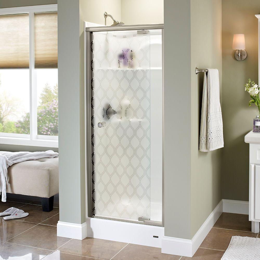 Delta Mandara 31 in. x 66 in. Semi-Frameless Pivot Shower Door in Nickel with Ojo Glass