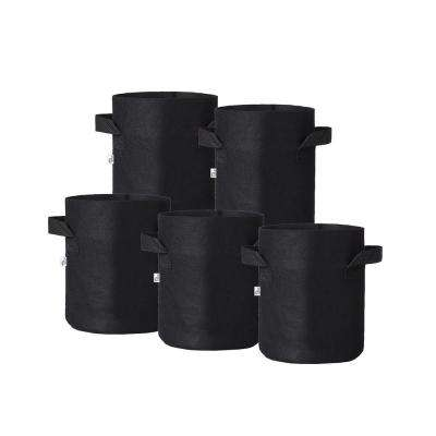 8 in. x 6 in. 1 Gal. Breathable Fabric Pot Bags with Handles Black Felt Grow Pot (5-Pack)