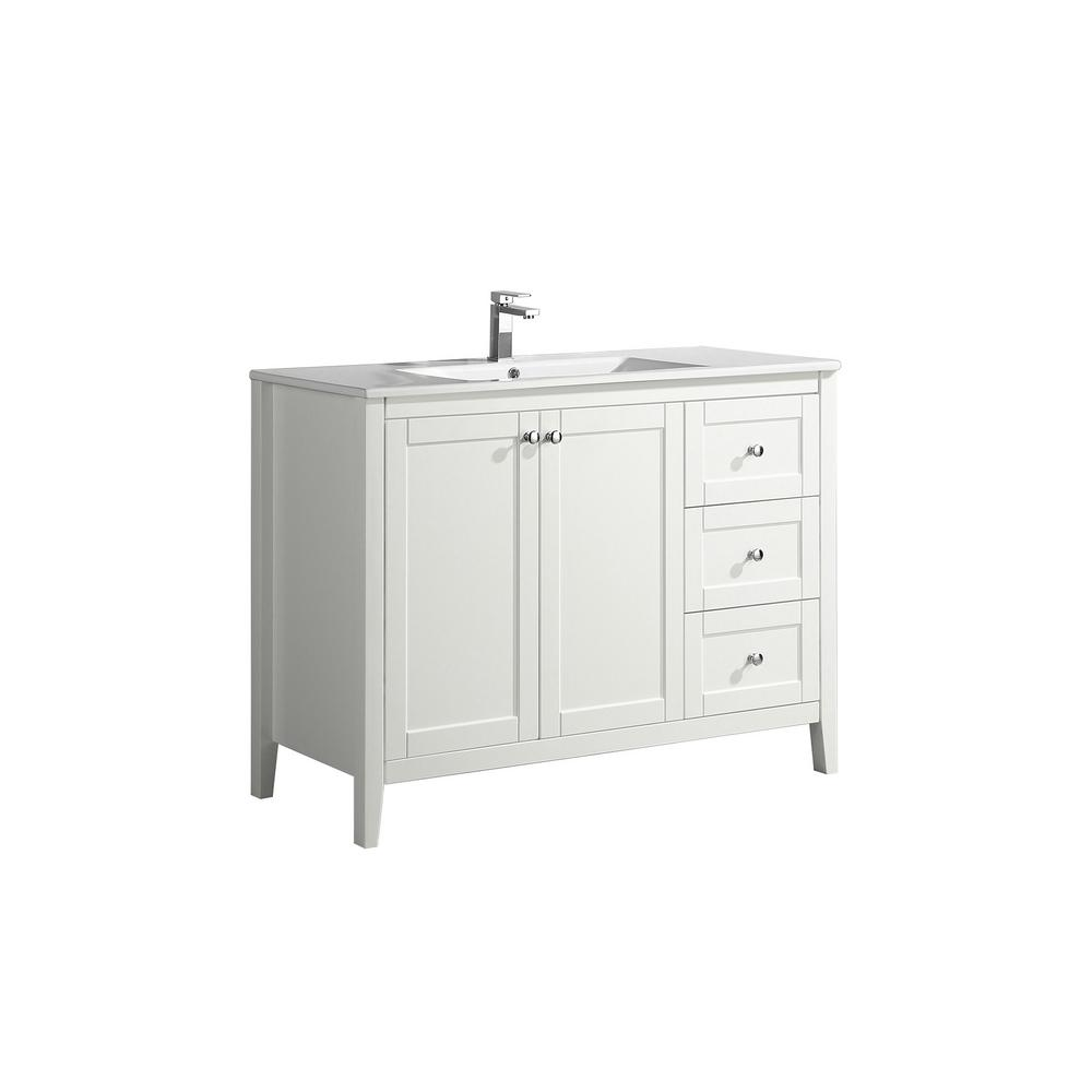 Swiss Madison Cannes 48 in. Single, 2 Doors, 3 Drawers, Bathroom Vanity in White with White Countertop with White Basin