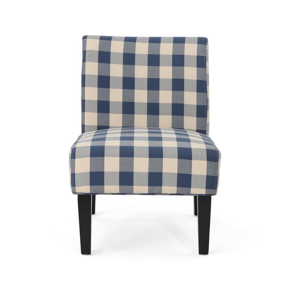 Aberjona Farmhouse Blue and White Checkerboard Fabric Accent Chair