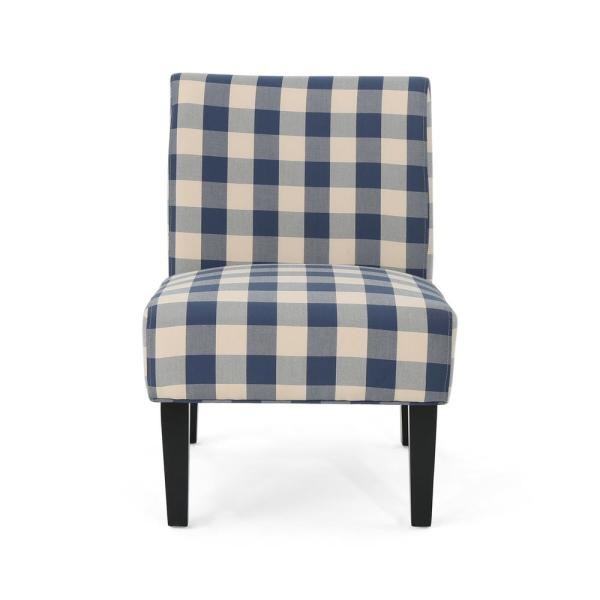 Noble House Aberjona Farmhouse Blue and White Checkerboard Fabric Accent Chair