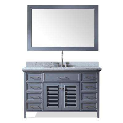 Kensington 55 in. Bath Vanity in Grey with Marble Vanity Top in Carrara White with White Basin and Mirror