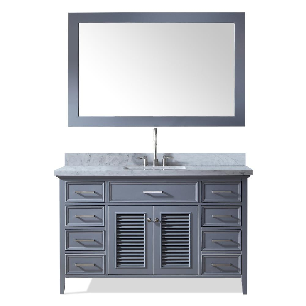 Perfect Ariel Kensington 55 In. Bath Vanity In Grey With Marble Vanity Top In  Carrara White