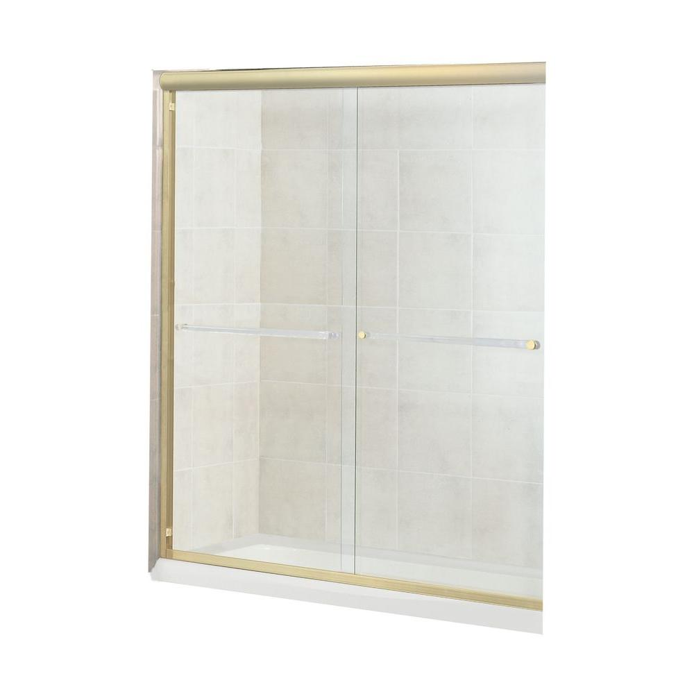 MAAX Luminous 54 in. to 59-1/2 in. W Shower Door in Polished Brass with 10MM Clear Glass-DISCONTINUED